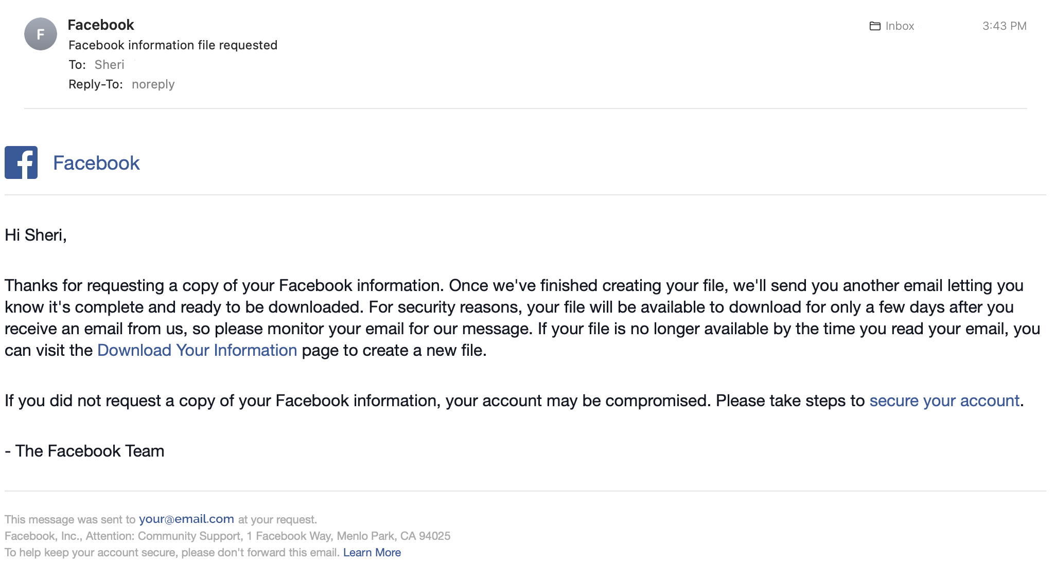 Facebook email download request acknowledgement