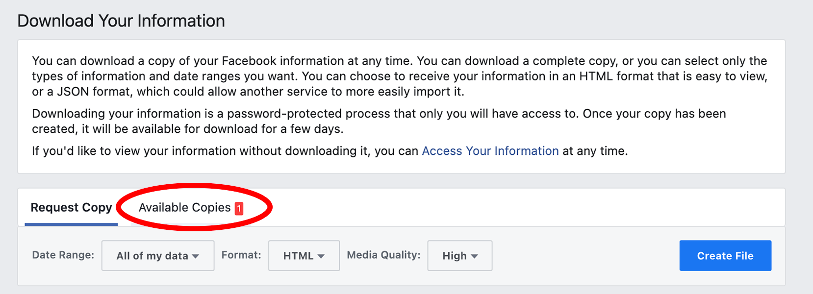 Facebook Download in settings