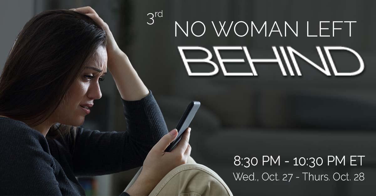 No Woman Left Behind banner, woman looking at phone